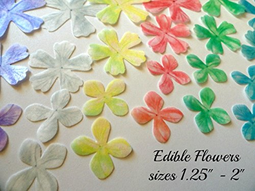 26 ASSORTED Rainbow Multicolored Flowers Edible Wafer Paper