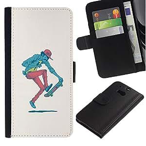 KLONGSHOP // Tirón de la caja Cartera de cuero con ranuras para tarjetas - Hipster Skater - Pop Art - HTC One M8 //
