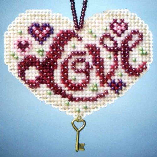 Love Beaded Counted Cross Stitch Charmed Ornaments Kit Mill Hill 2013 I Love - Kit Cross Mill Stitch