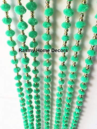 Buy Rasmy Home Decors Green Woollen Pom Pom Garlands With Bell
