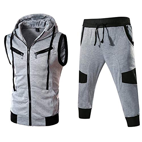 Sunhusing Men's Stitching Sports Pocket Hooded Vest Gilet Top + Multi-Zipper Pants Set Tracksuit from Sunhusing