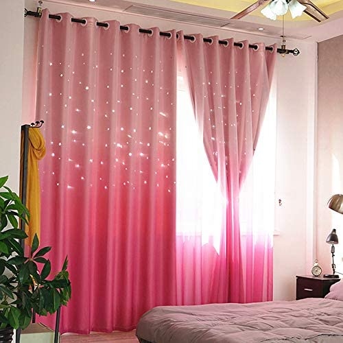 Abreeze Princess Pink Curtain Hollow-Out Stars Curtains for Kids Girls Bedroom Living Room Double Layer Blackout Gradient Window Curtains 1 Panel,59 x 84 inch,Pink