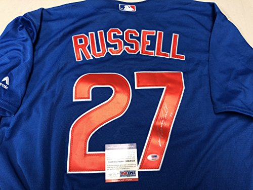 Addison Russell Autographed Signed Authentic Majestic Blue Chicago Cubs Jersey PSA/DNA Hologram & Coa Card Chicago Cubs Autographed Majestic Jersey