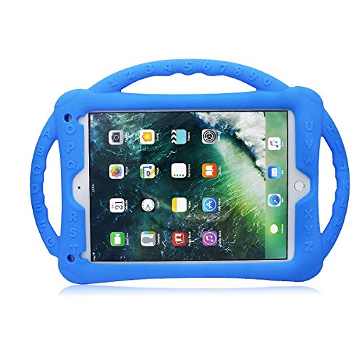 9.7 inch iPad Case for Kids, New Designed Shockproof Silicone Tablet case Protective Cover for Children with Handle Stand for iPad Air,iPad Air 2,iPad Pro 9.7,iPad 9.7 2017/2018 (Blue)