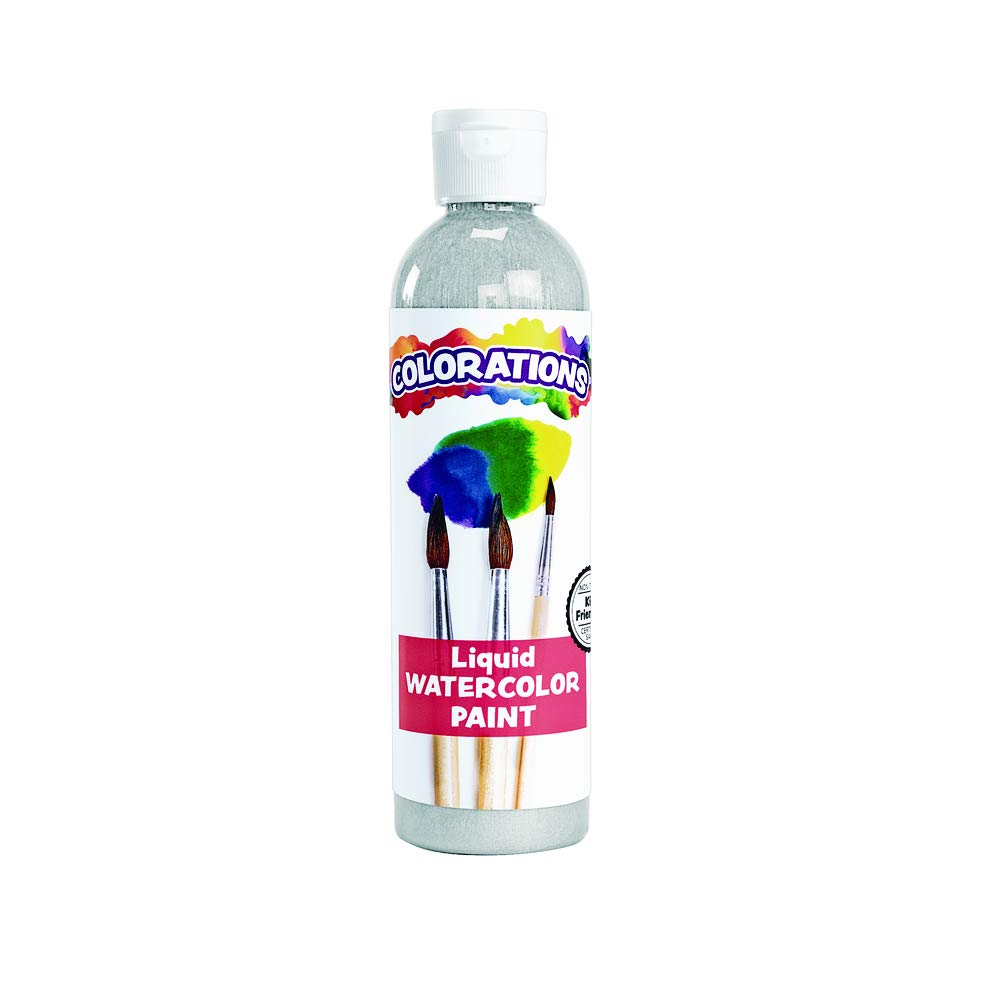 Colorations Liquid Watercolor Paint, Silver, Non-Toxic, Painting, Kids, Craft, Hobby, Fun, Water Color, Posters, Cool Effects, Versatile, Gift, 8 oz. (LWSI)