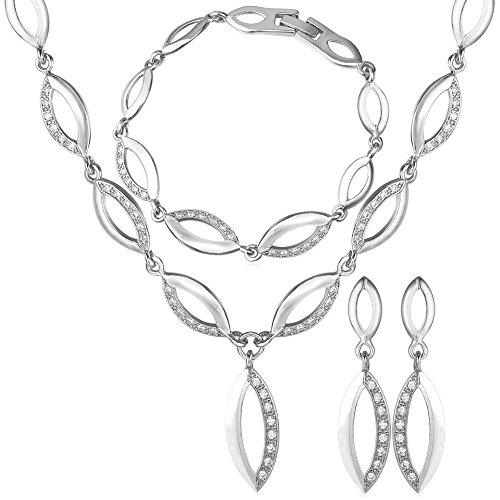 18K Gold Plated Women Party Necklace Bracelet & Earrings Set (Earrings And Bracelet Set)