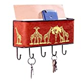 Barkclothed Key and Mail Holder Rack Organizer Wall Mount for Entryway, Kitchen, Office - Giraffe Print