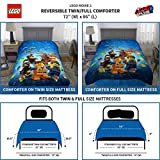 LEGO Movie 2 Kids Bedding Soft Microfiber Comforter and Sheet Set, Twin Size 4 Piece Pack, Blue