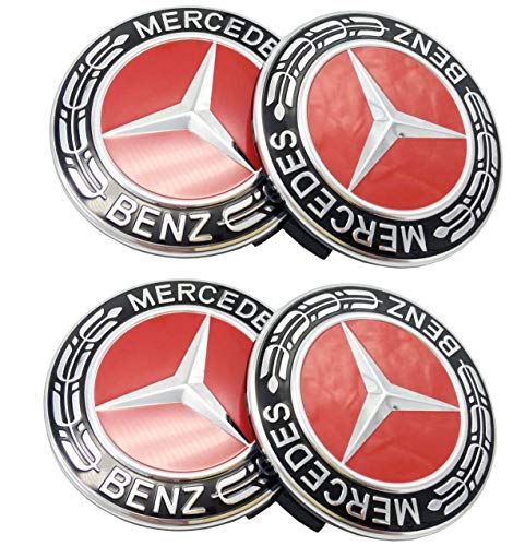 (Mercedes Benz Wheel Center Caps Emblem Hubcaps 4pcs (Red))
