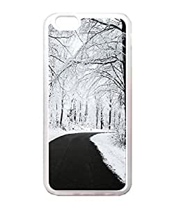 VUTTOO Iphone 6 Plus Case, Forest Road Winter Snow Transparent Soft TPU Back Case Cover for Apple Iphone 6 Plus 5.5 Inch