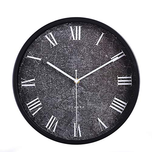 - Wall Clocks Battery Operated Silent Sweep Non-Ticking,Glass Cover Marble Pattern Modern Style 12In Metal Decorative Black