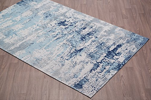 Vestige Handmade Chenille Cotton Abstract Blue Rug – 2′ x 3′ Review