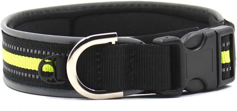 Dxlta Collar de Mascota con Tira Reflectante Nylon Ajustable para Mascotas Gato Perro Seguridad Nocturna