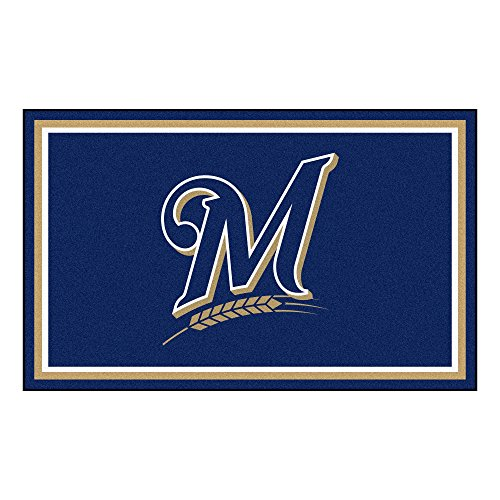 FANMATS MLB Milwaukee Brewers Nylon Face 4X6 Plush Rug