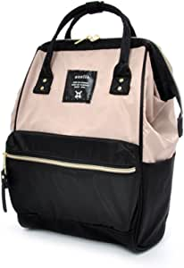 Anello Mini Lightweight Nylon Square Rucksack (Beige/Black)