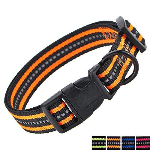 Mile High Life Night Reflective Double Bands Nylon Dog Collar (Orange, Mediun Neck 14-19 -40 lb)