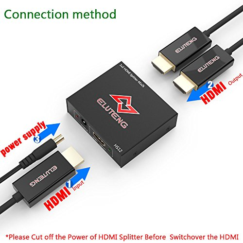 ELUTENG 4K HDMI Splitter 1 in 2 Out Ultra HD HDCP HDMI1.4 30HZ Switch 1x2 1080P 3D Compatible for PS4 PS3 Xbox Laptop Projector Amplifier by ELUTENG (Image #3)