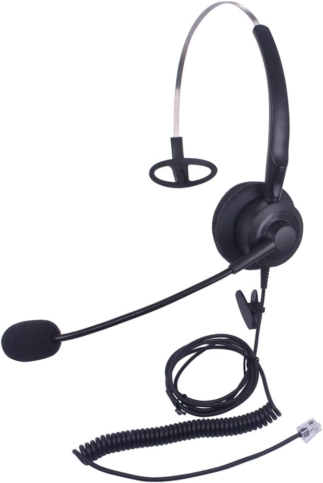 Audicom Corded Call Center Headset Headphone with Mic for Avaya 1416 2420 5410 Aastra 6757i Mitel 5330 NEC Aspire DT300 DSX ShoreTel IP230 Polycom 335 and VVX310 400 Telephone IP Phones(H200STA)