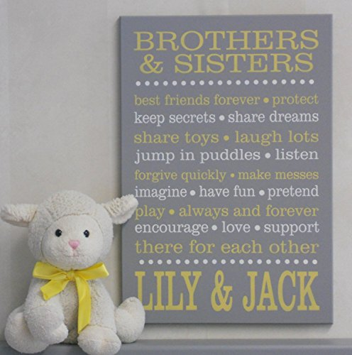 Nelsonsgifts online in the uae abu dhabi dubai sharjah and personalized name brothers sisters sibling gift yellow gray baby girl boy nursery negle Gallery