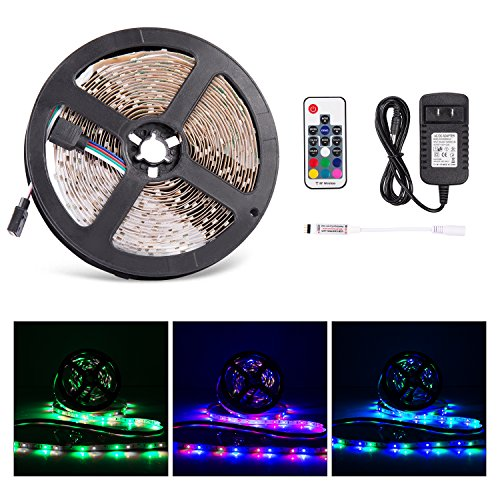 LED Light Strip, ALight SMD 3528 16.4 Feet 300 LED RGB Color Changing Lighting Kit with 17 Key RF Remote Control and DC 12V 2A Power Adapter (3528 300led Non-waterproof)