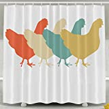 Vintage Retro Art Chicken Shower Curtain with Hooks, 60x72inches - Non Toxic, Eco-Friendly