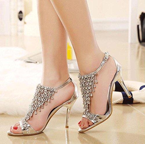 Mariage Femme Silver Noble Strass Diamant Bouche Talons Romantique 35 Argent Pour Xie Chaussures Hauts Banquet Dames Creux Sandales Poisson qOTWxt