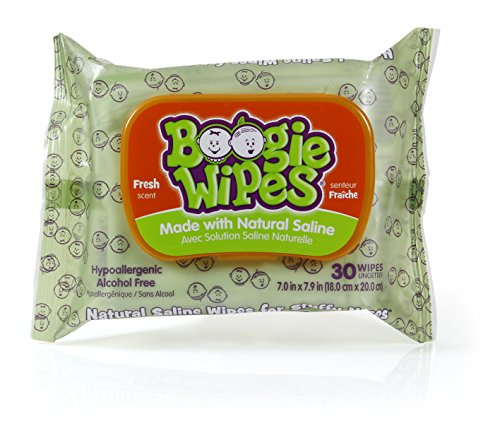 (Boogie Wipes Gentle Saline Nose Wipes Original Fresh Scent - Set of 3 (90 Wipes Total))