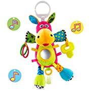 OKIKI Donkey Plush Infant Toy | Pull String Musical Sensory Toy (No Batteries Required) Crinkle Paper, Squeakers, Clackers, Teether & Mirror Self Discovery