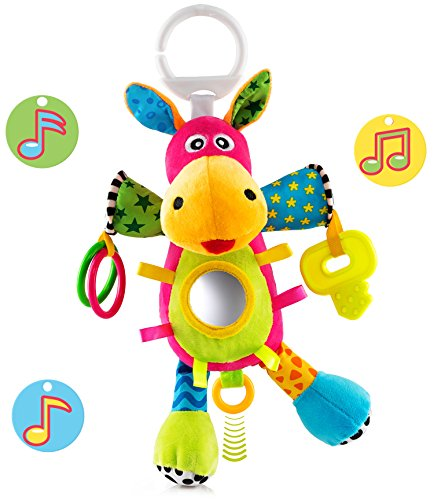 - OKIKI Donkey Plush Infant Toy, Baby Development Toys w/ Musical Box (No Batteries Required), Squeaky Feet, Kids Mirror & BPA Free Teether | Colorful Stroller, Crib, Carseat Toys | Calms Baby Down