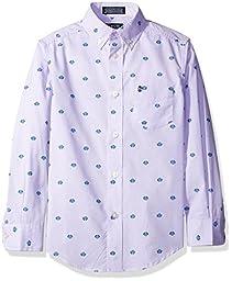 Izod Kids Big Boys\' Long Sleeve Mini Gingham Shirt, Purple, MED