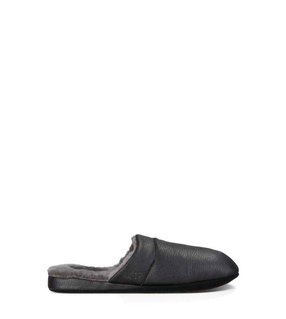 UGG Men's colter Black Leather Slipper