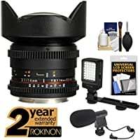 Rokinon 14mm T/3.1 Cine Wide Angle Lens with 2 Year Ext. Warranty + LED Video Light + Microphone Kit for Sony Alpha DSLR SLT-A57, A58, A65, A77, A99 DSLR Cameras