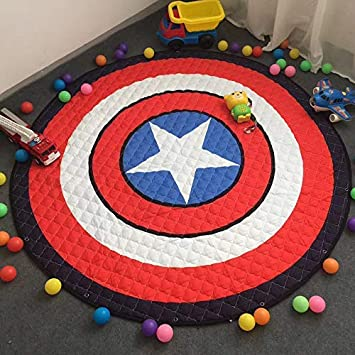 FLOWood Alfombra Redonda Infantil Tapete De Juego Manta De Bebé con Bolsa De Almacenamiento Portátil (Capitán América) INCX