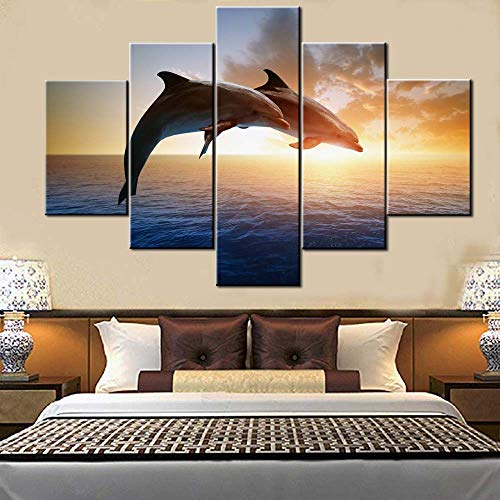 Fish Artwork for Walls Portraits of Dolphin Pictures Marine Sunset Paintings for Living Room 5 Panel Printed on Canvas Ocean Animal Wall Art Home Decor Stretched and Framed Ready to Hang(60''Wx 40''H)
