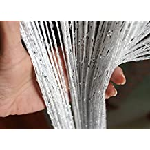 Eyotool 1x2 M Door String Curtain Rare Flat Silver Ribbon Thread Fringe Window Panel Room Divider Cute Strip Tassel for Wedding Coffee House Restaurant Parts, (White)