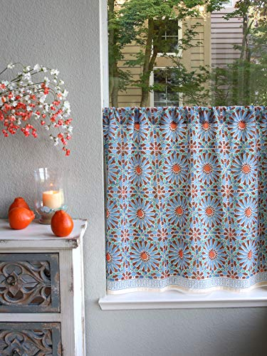 Hand Printed Cotton - Saffron Marigold - Mosaique Bleue - Blue, Green, and Orange Moroccan Tile Inspired Hand Printed - Sheer Cotton Voile Kitchen Curtain Panel - Rod Pocket - (46x30)