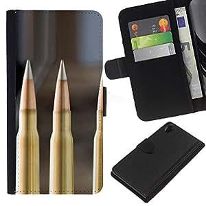 KLONGSHOP // Tirón de la caja Cartera de cuero con ranuras para tarjetas - Bullet - Sony Xperia Z2 D6502 //