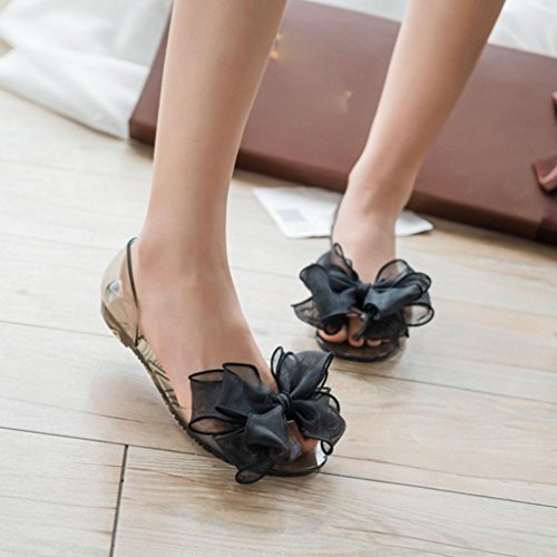 Bovake Summer Women Sandals, Plastic Jelly Shoes Transparent Beach Shoes - Women Bow Flower Jelly Beach Sandals Flip Flops Flat Shoes Slippers - Bohemia Heels Ladies Ankle Strap Wedges Shoes Black