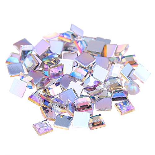 Nizi Jewelry 2mm 4mm 6mm CRYSTAL AB Color Square Flatback Acrylic Rhinestones Shiny Stones Nail Rhinestone (6MM 3G ABOUT 55PCS) ()