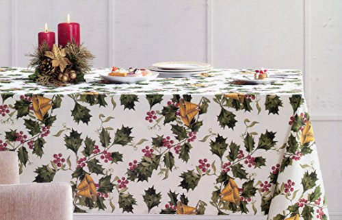 Cynthia Rowley Holly and Bells Holiday Tablecloth, 60-by-84 Inch Oblong Rectangular (Table Cynthia Linens Rowley)