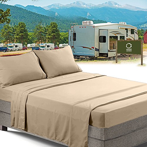 RV/Short Queen Bed Sheets Set Bedding Sheets Set for Campers, 4-Piece Bed Set, Deep Pockets Fitted Sheet, 100% Luxury Soft Microfiber, Hypoallergenic, Cool & Breathable, Beige