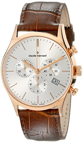 Claude Bernard Men's 10218 37R AIR Classic Dress Chronograph Analog Display Swiss Quartz Brown Watch