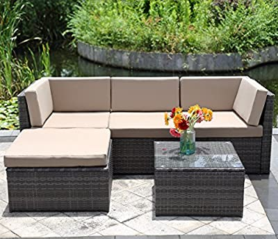 Wisteria Lane 5PCS Outdoor Patio Furniture Set, Garden Lawn Rattan Sofa Cushioned Seat Wicker Sofa