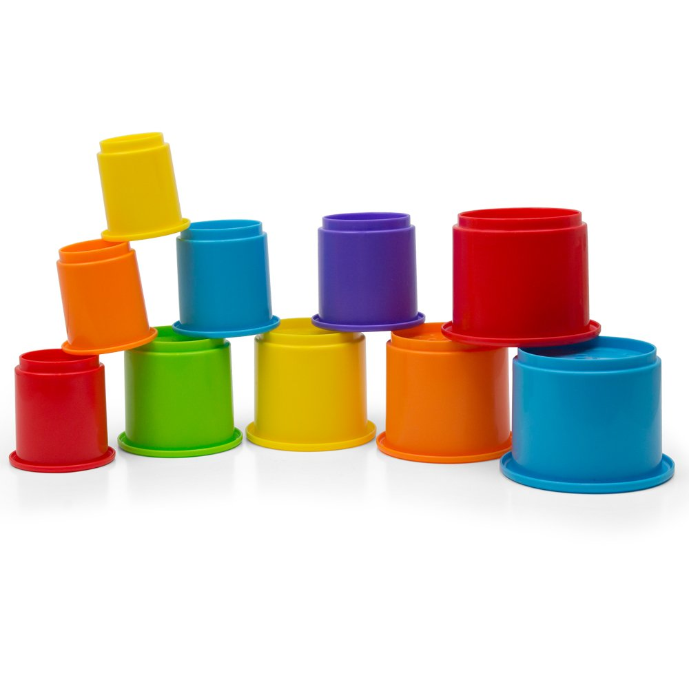 Kidsthrill Rainbow Stacking & Nesting Cups Baby Building Set |10 Pieces | Embossed Animal Characters |Indoor, Outdoor, Bathtub, and Beach Fun Toy Multi Colored by Kidsthrill (Image #4)