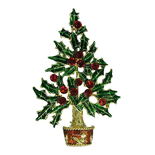 discount Poinsettia Christmas Tree Vintage Inspired Holiday Hand painted Green with Light Siam Red Crystals Gift Brooch NEW pin HandCrafted P3261