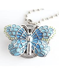 XBLAA Blue Butterfly Small Vintage Pocket Watch Kids Students Unisex Watch Creative Necklace Quartz Watch