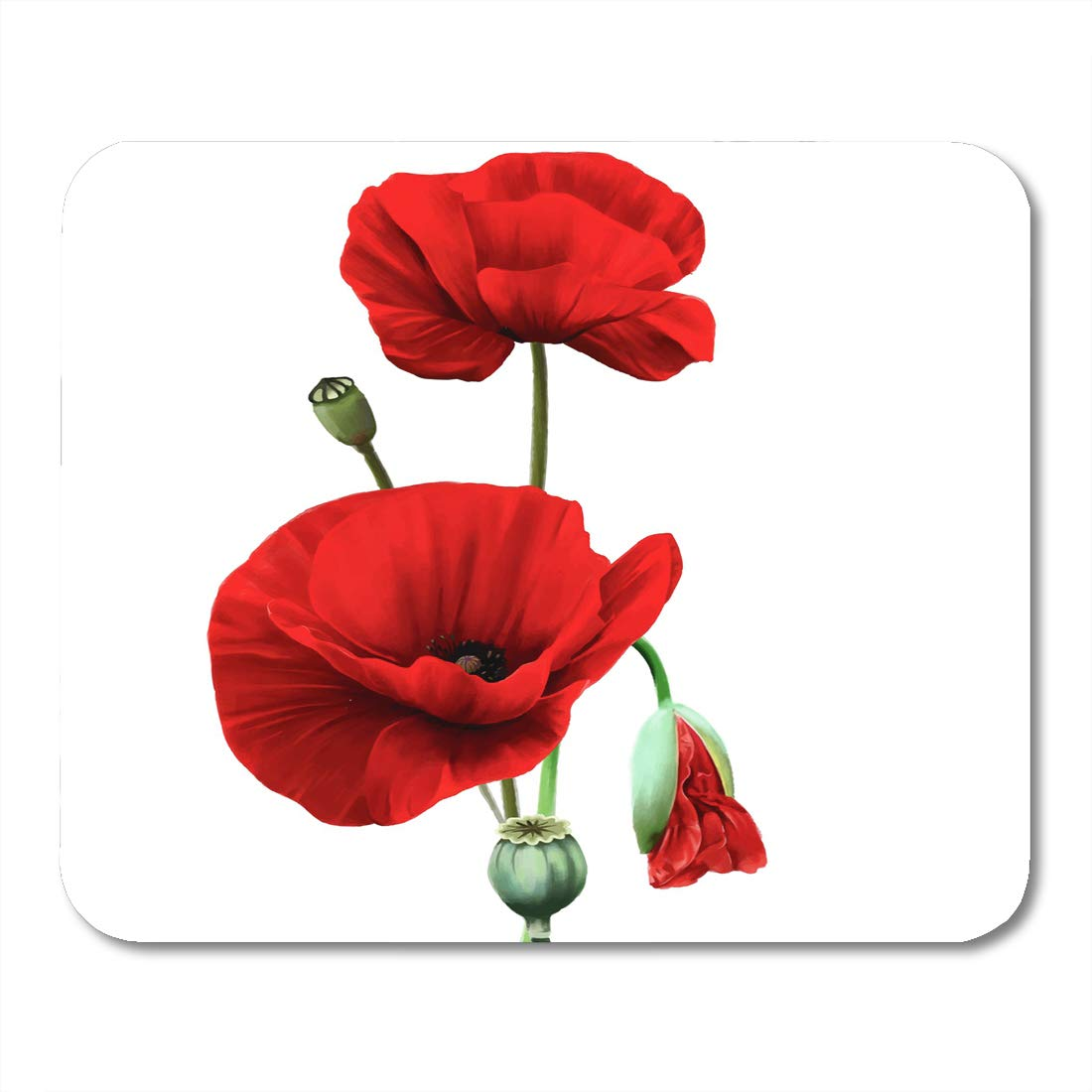 Amazon Nakamela Mouse Pads Color Pink Painting Red Poppy