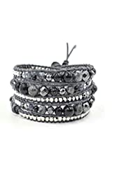 M&B Women's Black and Silver Stone Multi Layer Beaded Wrap Leather Bracelet - Jewelry for her