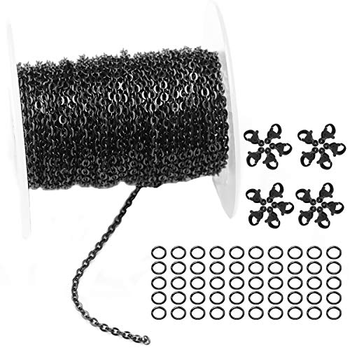 30 Feet Stainless Steel Flat Cross Link Chains Gun Black Chains Spool Bulk with 20 Lobster Clasps and 50 Jump Rings for DIY Jewelry Making (Chain Width 2mm+20pcs Clasps+50 Rings, Gunmetal Black)