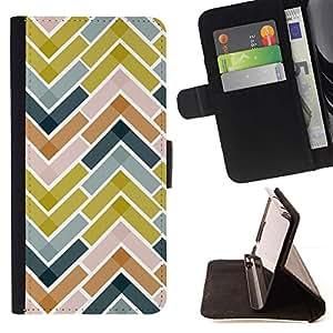 For Samsung Galaxy Note 3 III Case , Azulejos Verde Azul marino Patrón- la tarjeta de Crédito Slots PU Funda de cuero Monedero caso cubierta de piel